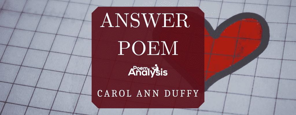 Answer Poem by Carol Ann Duffy
