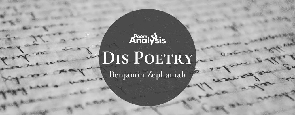 Dis Poetry by Benjamin Zephaniah