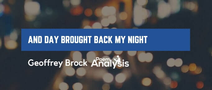 And Day Brought Back My Night by Geoffrey Brock