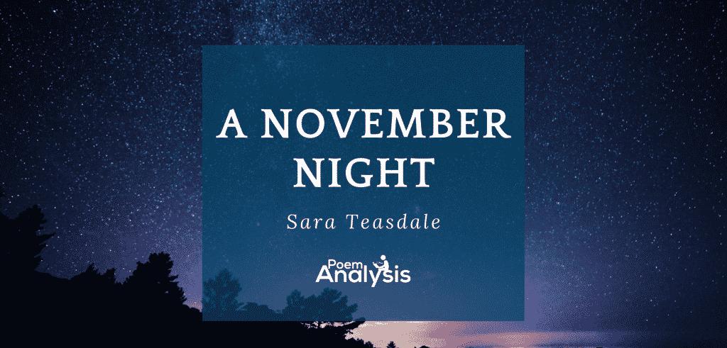 A November Night by Sara Teasdale