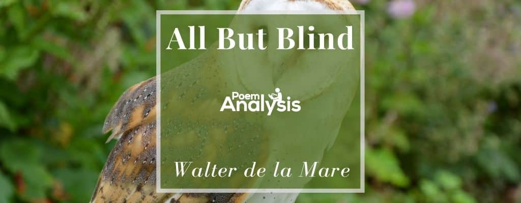 All But Blind By Walter De La Mare Poem Analysis