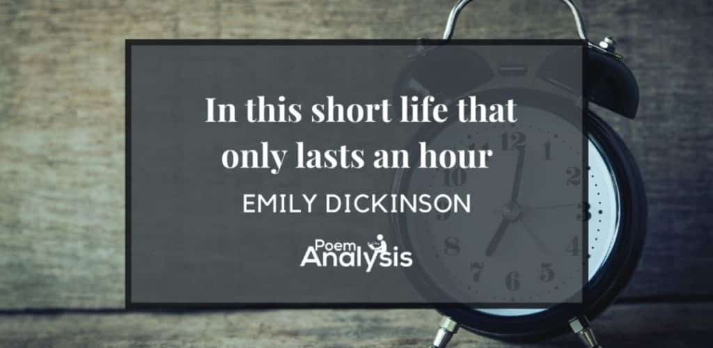 In this short life that only lasts an hour by Emily Dickinson